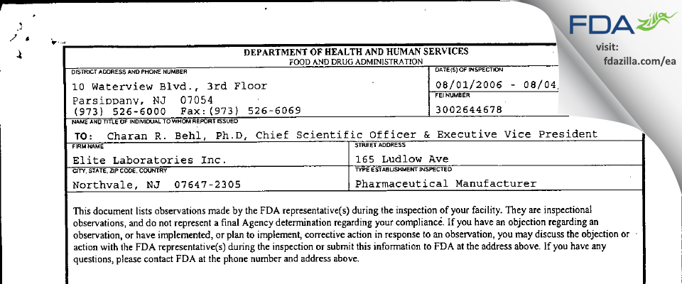 Elite Labs FDA inspection 483 Aug 2006