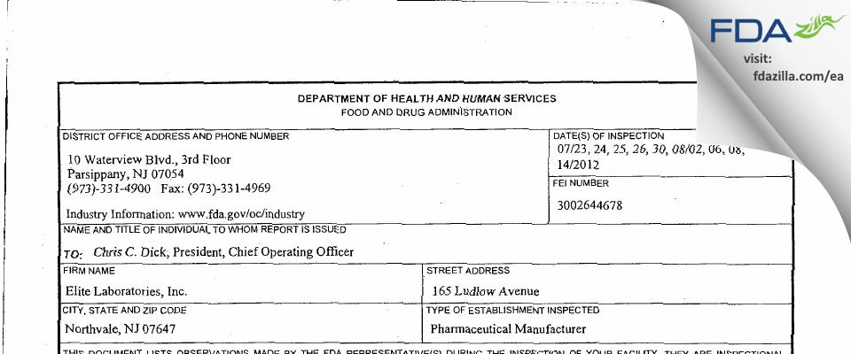 Elite Labs FDA inspection 483 Aug 2012