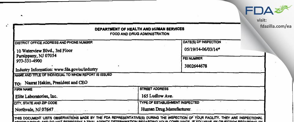Elite Labs FDA inspection 483 Jun 2014