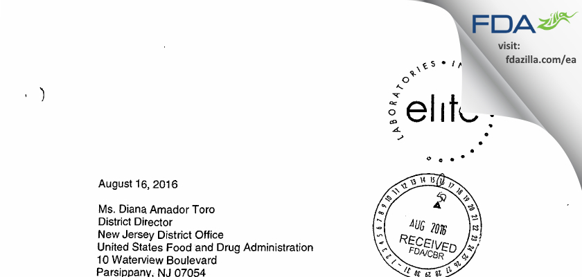Elite Labs FDA inspection 483 Feb 2016