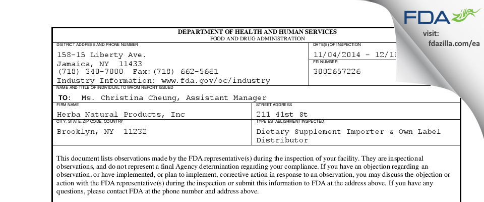Herba Natural Products FDA inspection 483 Dec 2014