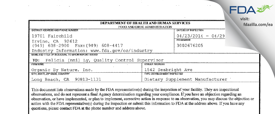 Organic By Nature FDA inspection 483 Apr 2014