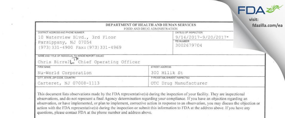 Nu-World FDA inspection 483 Sep 2017