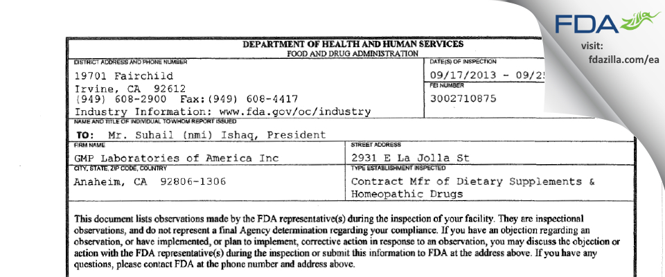 GMP Labs of America FDA inspection 483 Sep 2013