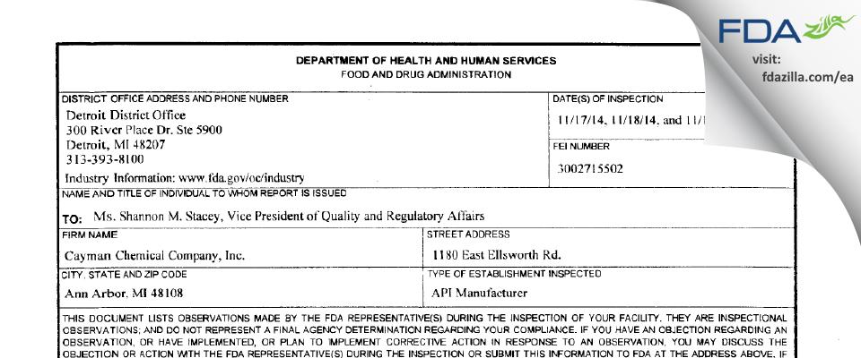 Cayman Chemical Company FDA inspection 483 Nov 2014