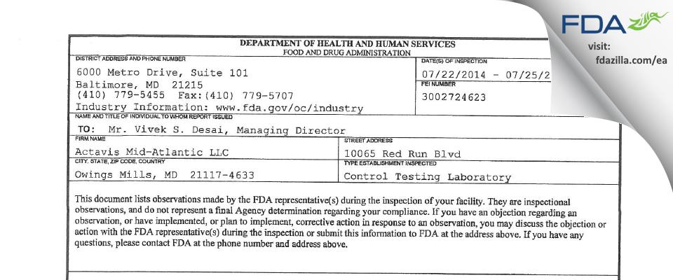 Actavis Mid-Atlantic FDA inspection 483 Jul 2014