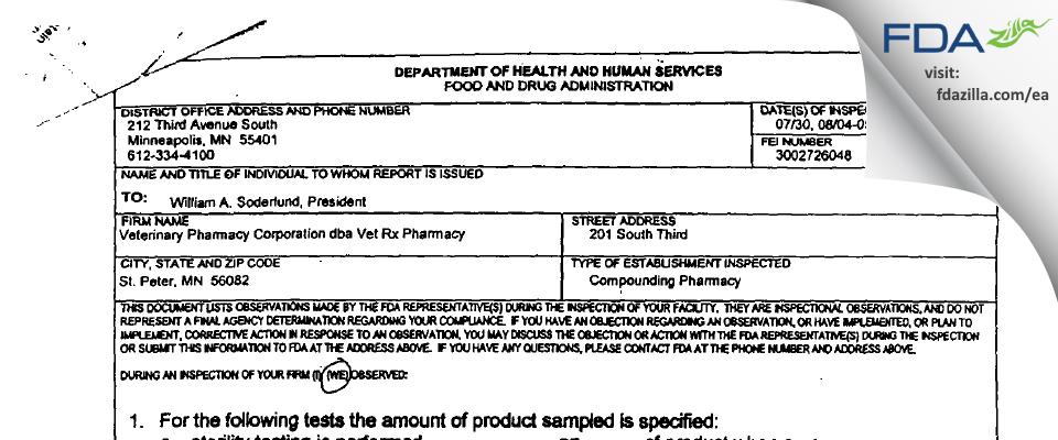 Veterinary Pharmacy FDA inspection 483 Sep 2003