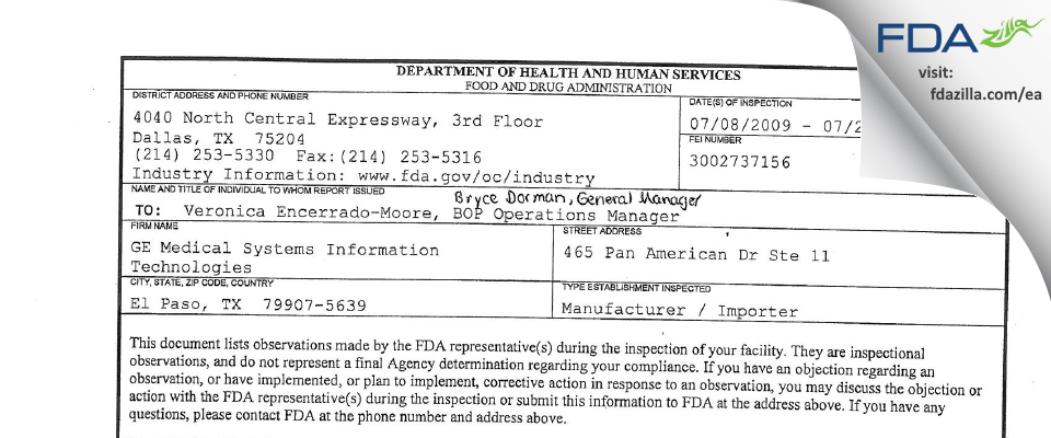 GE Medical Systems Information Technologies FDA inspection 483 Jul 2009