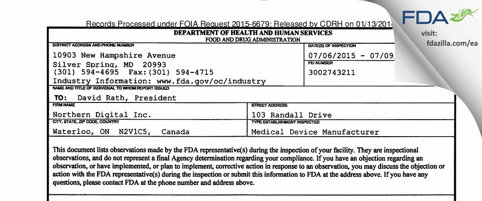 Northern Digital FDA inspection 483 Jul 2015