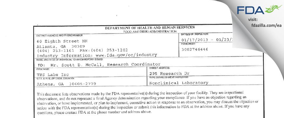TRS Labs FDA inspection 483 Jan 2013