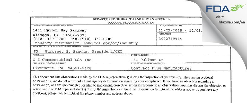 G S Cosmeceutical USA FDA inspection 483 Dec 2015