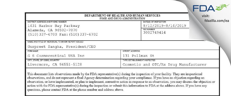 G S Cosmeceutical USA FDA inspection 483 Aug 2019