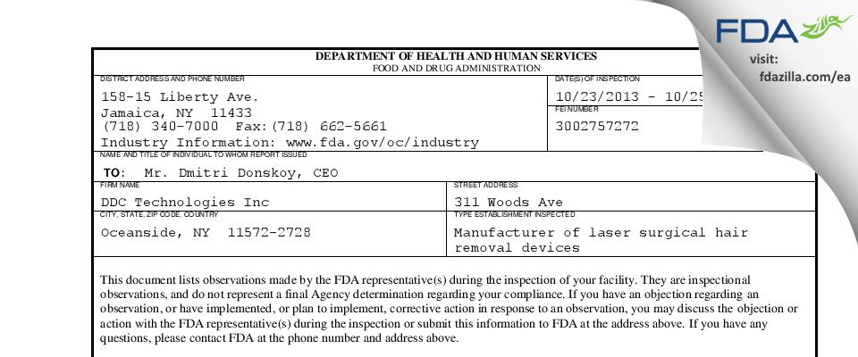 DDC Technologies FDA inspection 483 Oct 2013