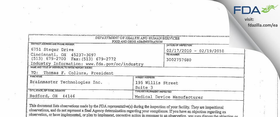 Brainmaster Technologies FDA inspection 483 Feb 2010