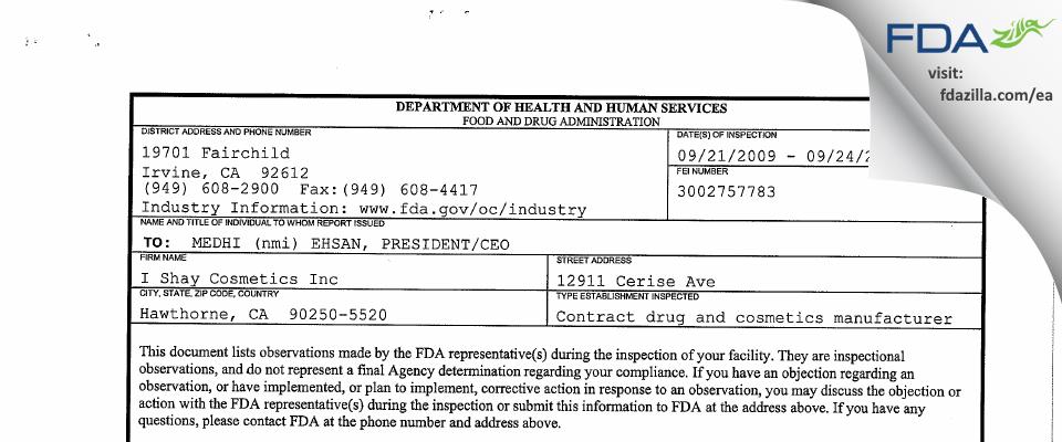 I. Shay Cosmetics FDA inspection 483 Sep 2009