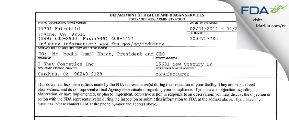 I. Shay Cosmetics FDA inspection 483 Feb 2012