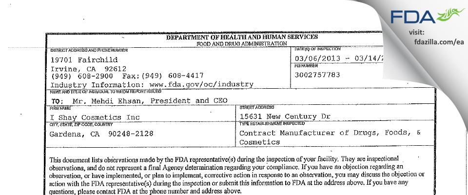 I. Shay Cosmetics FDA inspection 483 Mar 2013