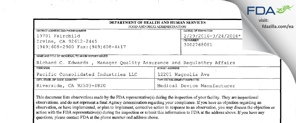 Pacific Consolidated Industries FDA inspection 483 Mar 2016