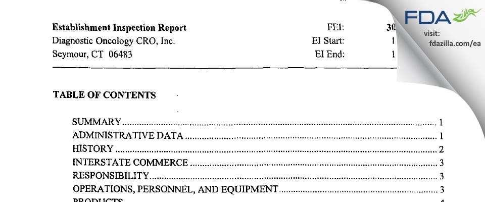 Diagnostic Oncology CRO FDA inspection 483 Nov 2002