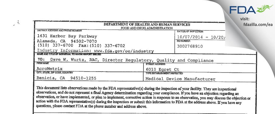 AcroMetrix FDA inspection 483 Oct 2014