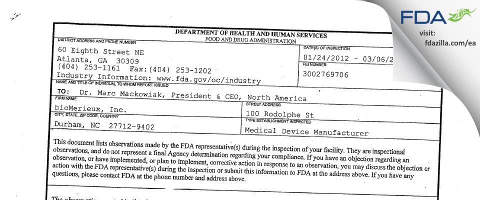 bioMerieux FDA inspection 483 Mar 2012
