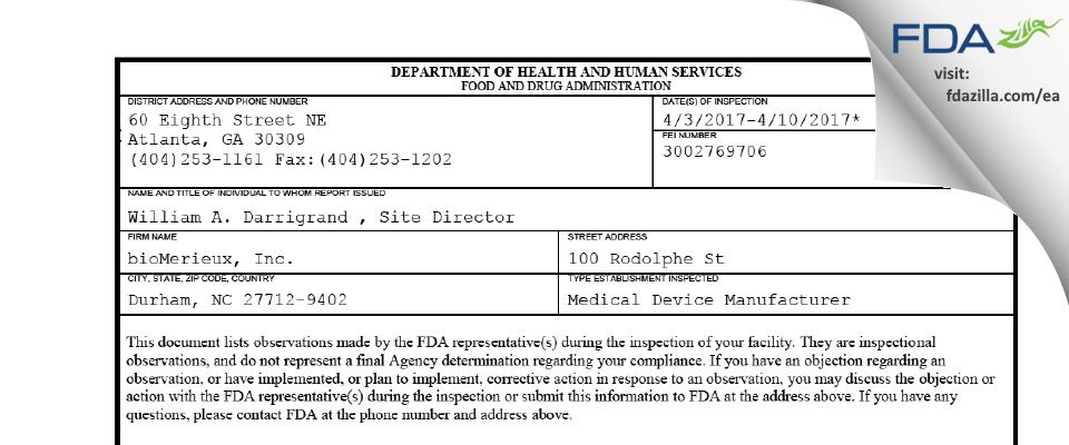 bioMerieux FDA inspection 483 Apr 2017