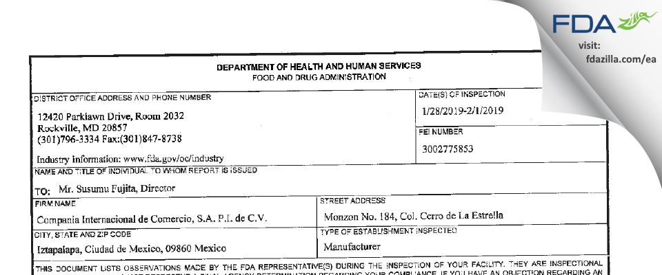 Compania Internacional de Comercio, P.I. de C.V. FDA inspection 483 Feb 2019