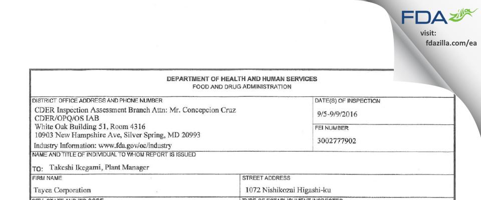 Tayca FDA inspection 483 Sep 2016