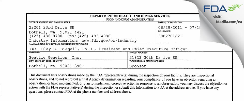 Seattle Genetics FDA inspection 483 Jul 2011