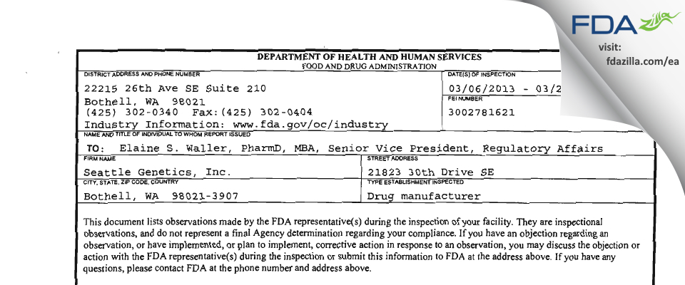 Seattle Genetics FDA inspection 483 Mar 2013