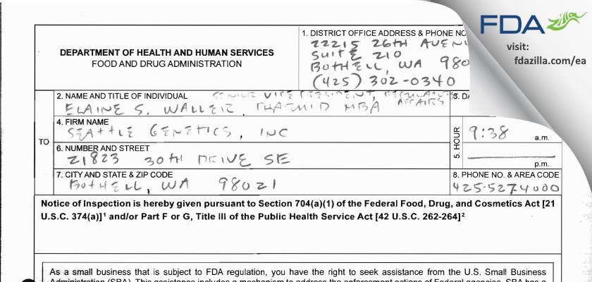 Seattle Genetics FDA inspection 483 Mar 2013