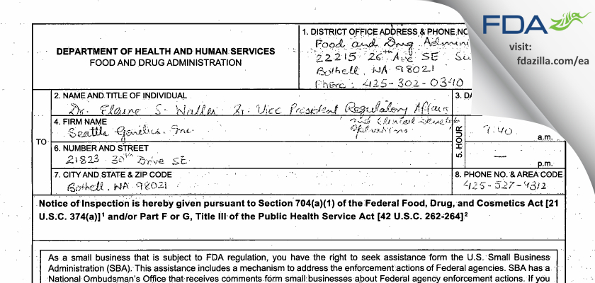 Seattle Genetics FDA inspection 483 Jun 2015