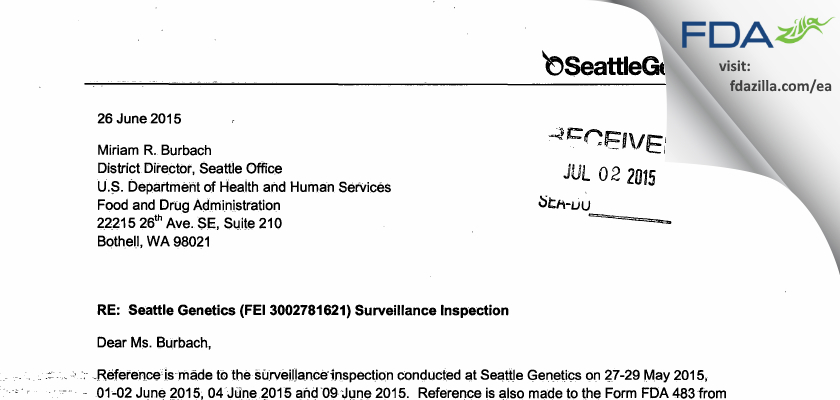 Seattle Genetics FDA inspection 483 Jun 2015