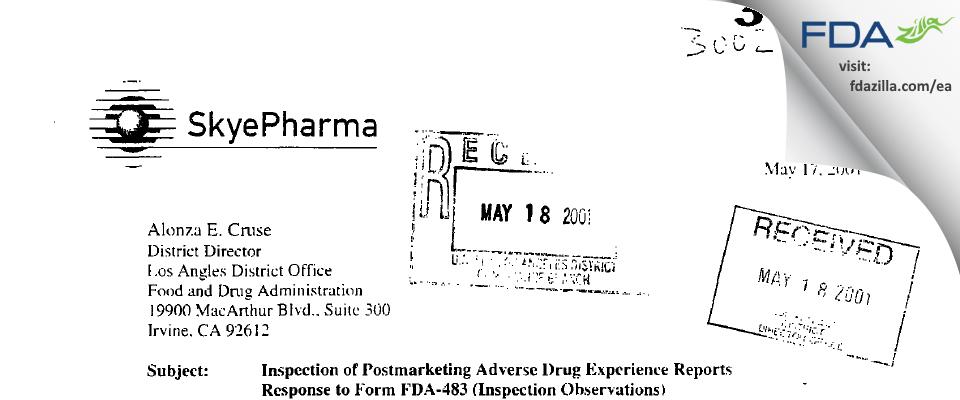 Pacira Pharmaceuticals FDA inspection 483 Apr 2001