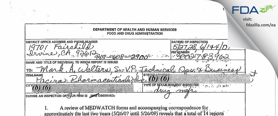 Pacira Pharmaceuticals FDA inspection 483 Jun 2009