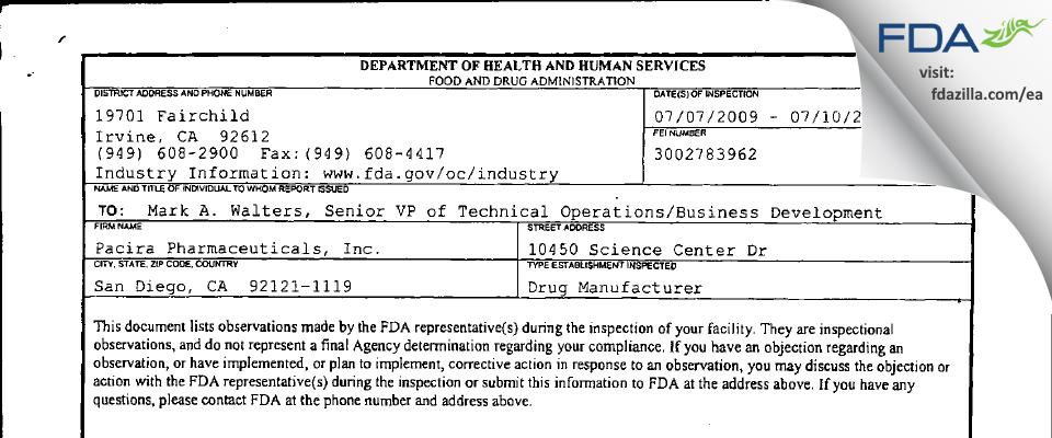 Pacira Pharmaceuticals FDA inspection 483 Jul 2009