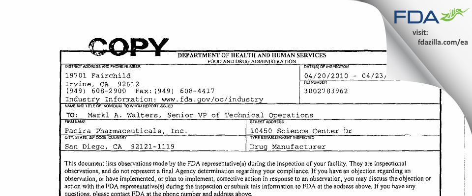 Pacira Pharmaceuticals FDA inspection 483 Apr 2010