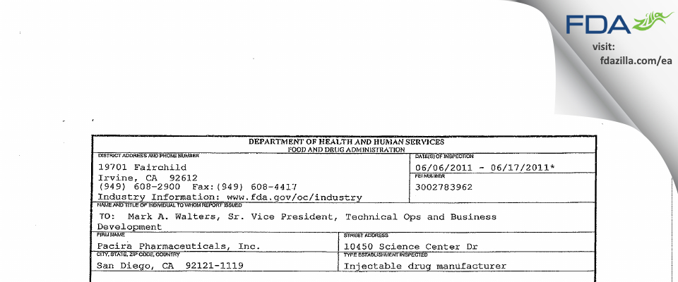 Pacira Pharmaceuticals FDA inspection 483 Jun 2011