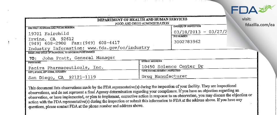 Pacira Pharmaceuticals FDA inspection 483 Mar 2013
