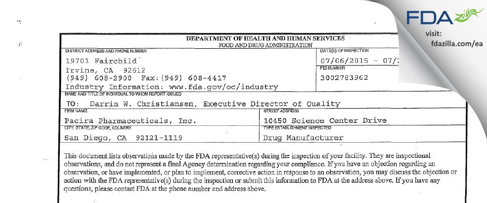 Pacira Pharmaceuticals FDA inspection 483 Jul 2015