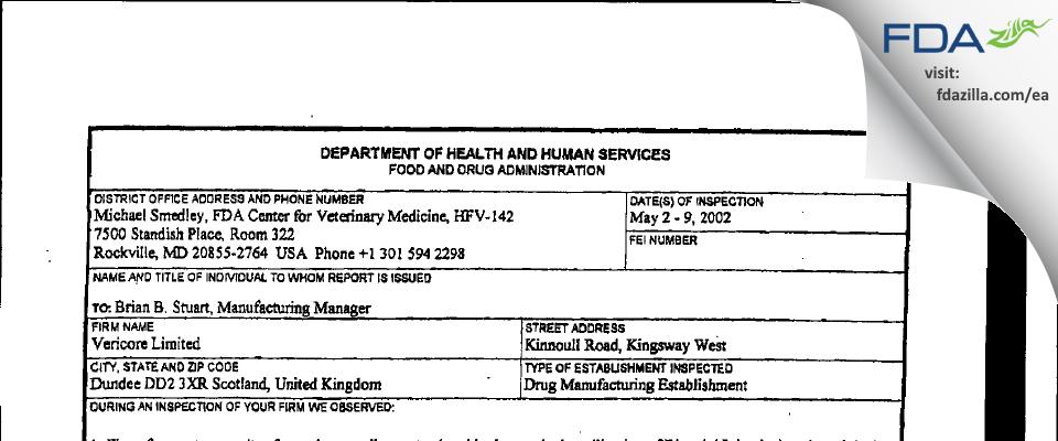 Argenta Dundee FDA inspection 483 May 2002