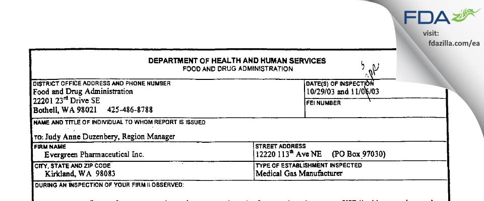 Evergreen Pharmaceutical FDA inspection 483 Nov 2003