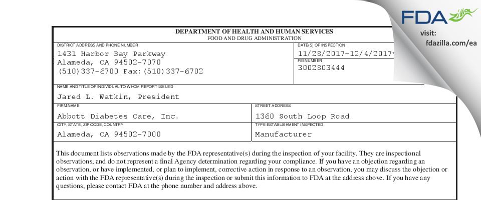 Abbott Diabetes Care FDA inspection 483 Dec 2017