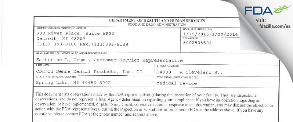 Common Sense Dental Products II FDA inspection 483 Jan 2016