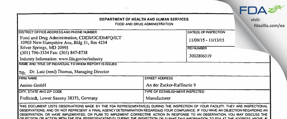Amino Gmbh FDA inspection 483 Nov 2015