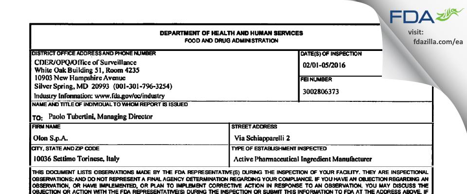 Olon SpA FDA inspection 483 Feb 2016