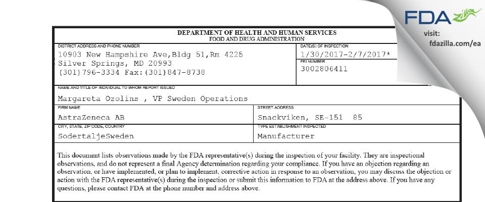 AstraZeneca AB FDA inspection 483 Feb 2017