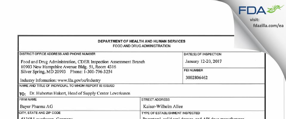 Bayer AG FDA inspection 483 Jan 2017