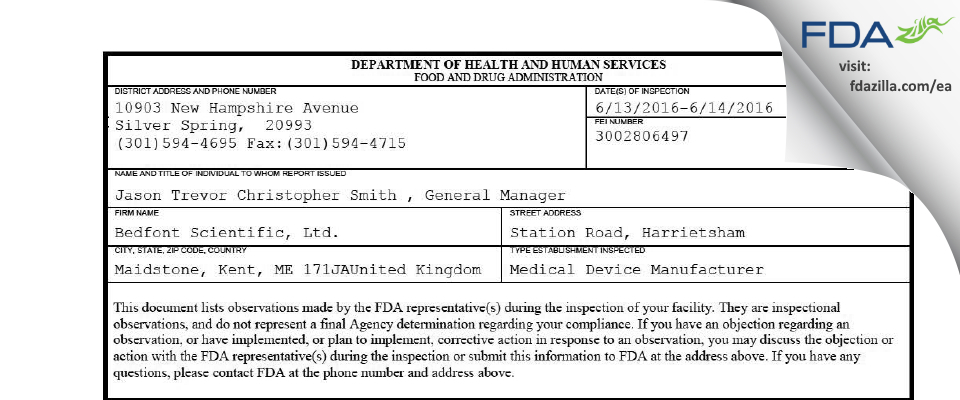 Bedfont Scientific FDA inspection 483 Jun 2016