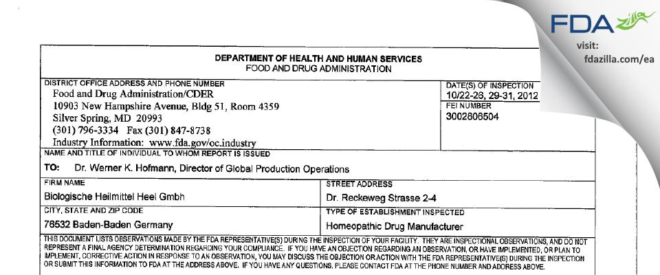 Biologische Heilmittel Heel Gmbh FDA inspection 483 Oct 2012